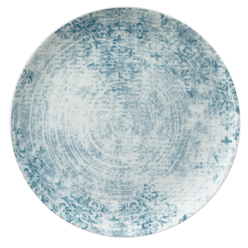 """Schonwald 9331228-63073 11"""" Shabby Chic Plate - Coupe, Porcelain, Structure Blue"""