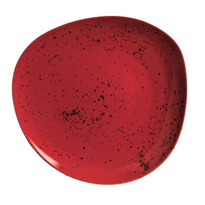 "Schonwald 9381231-63046 12.37"" Round Organic Plate - Porcelain, Pottery Unique, Red"