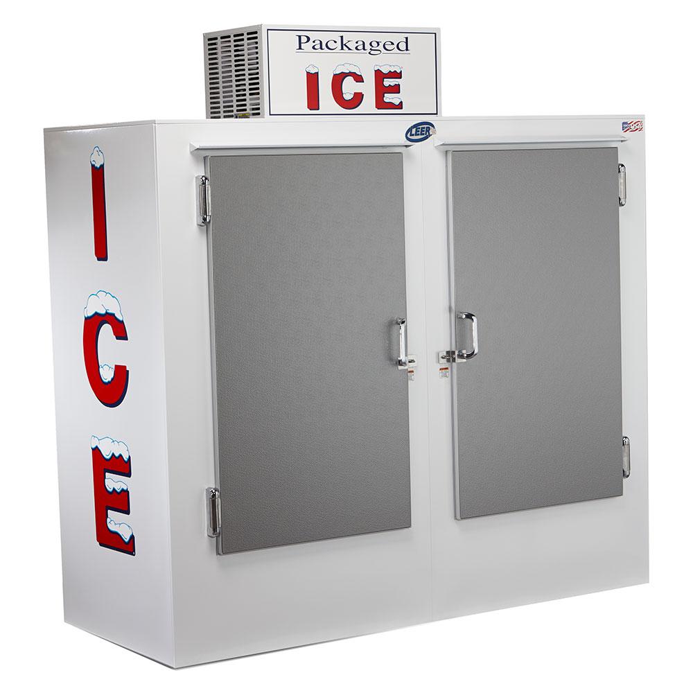 """Leer, Inc. L060UASE 73"""" Outdoor Ice Merchandiser w/ (140) 10-lb Bag Capacity - White, 120v"""