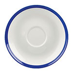 "Churchill WHBBBS41 4.75"" Retro Blue Saucer - Ceramic, White w/ Blue Rim"