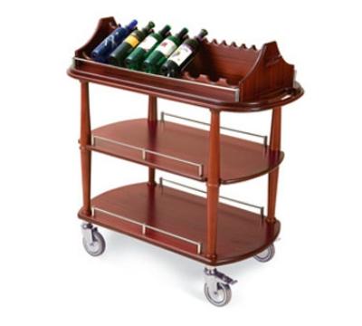 Geneva 70516 Oval Wine Cart w/ Hanging Stemware Rack, Removable Caddy Top