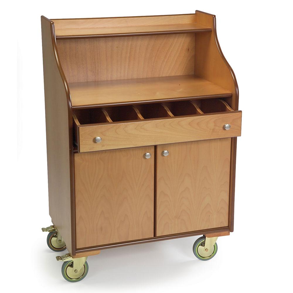 Geneva 73565 Wood Veneer Mobile Wait Stand w/ Drawer & Hinge Doors, Blond