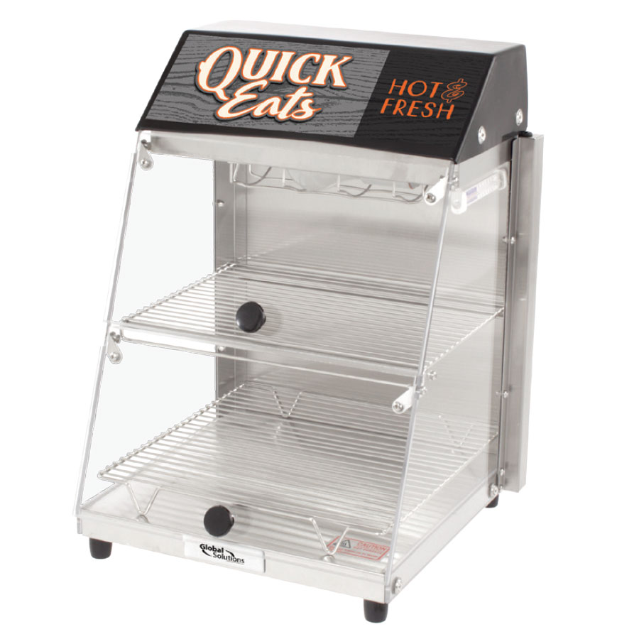 """Global Solutions GS1405 Global Solutions 12.25"""" Self-Service Countertop Heated Display Case - (2) Shelves, 120v"""