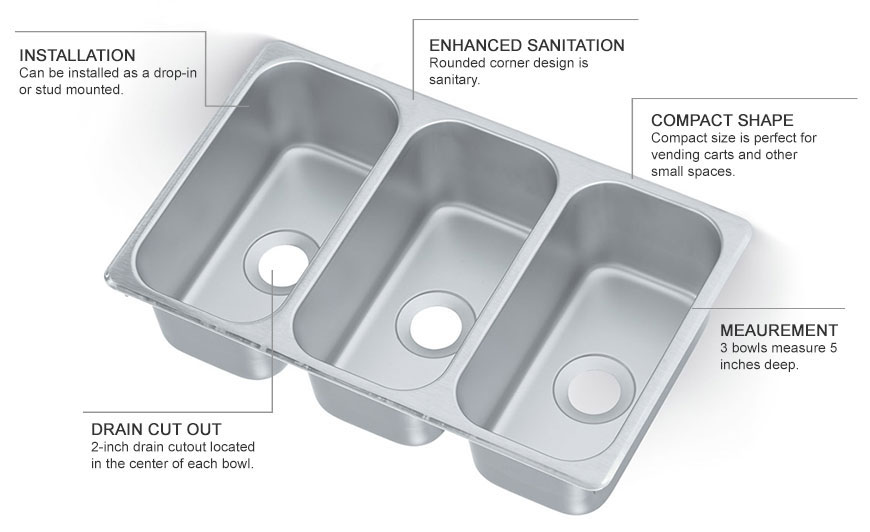 Vollrath 12065-3 (3) Compartment Drop-in Sink - 6.125\