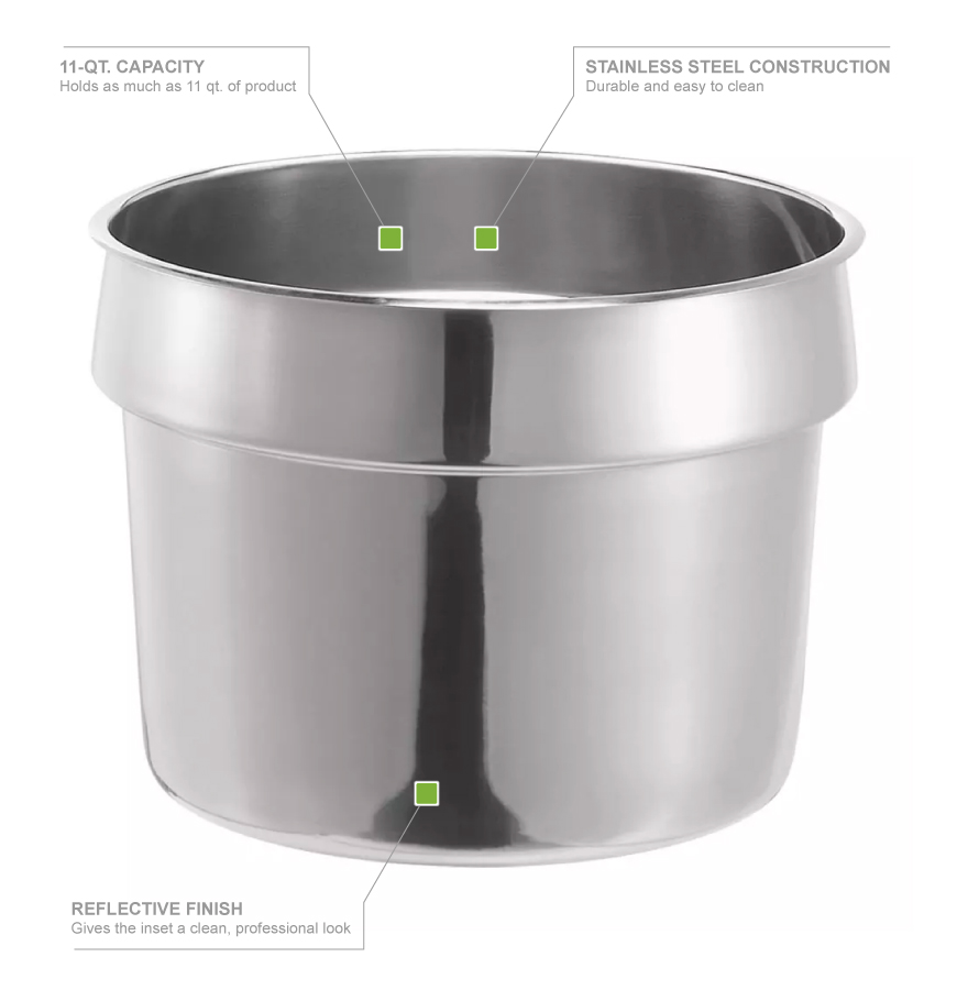 Server 84131 Inset, 10 1/2 in, 11 QT, SS, Vegetable Inset