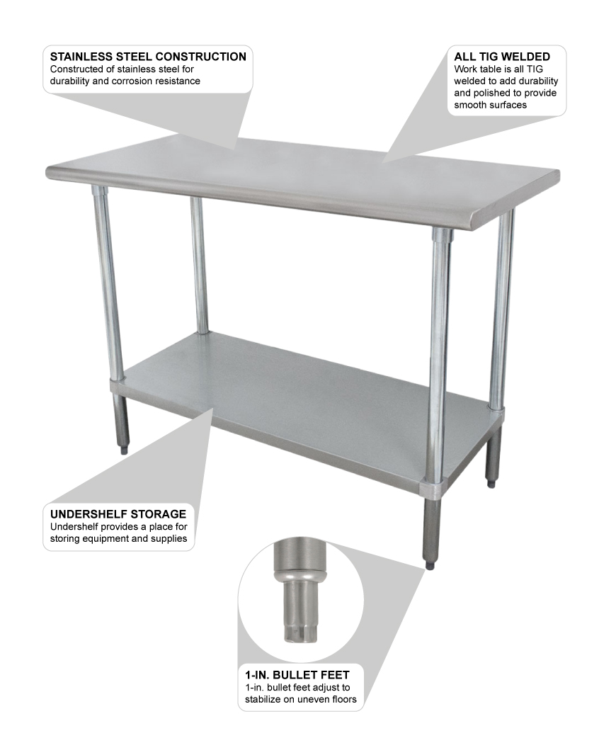 Advance Tabco SLAG Ga Work Table W Undershelf - 4 foot stainless steel table
