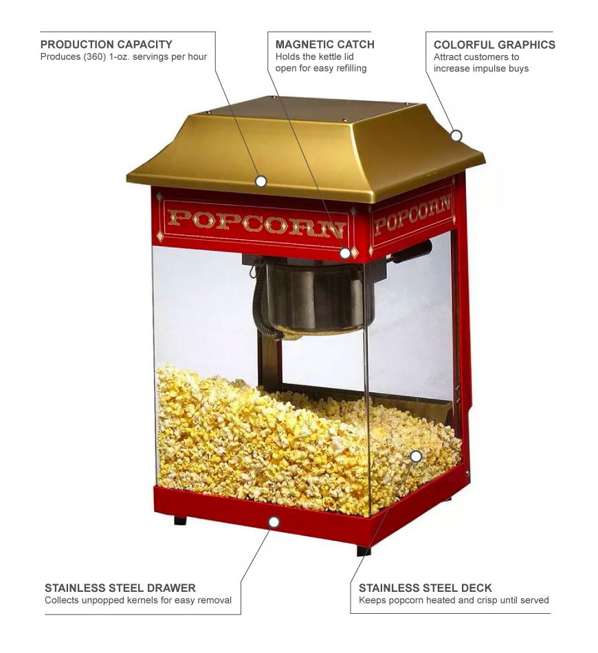 Star J4R Counter Popcorn Popper, 4 oz Kettle, (115) 1 oz ...