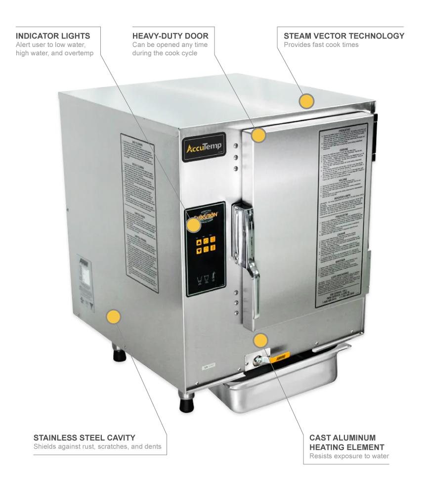 Accutemp E62083D150 (6) Pan Convection Steamer - Countertop, Holding  Capability, 208v/3ph