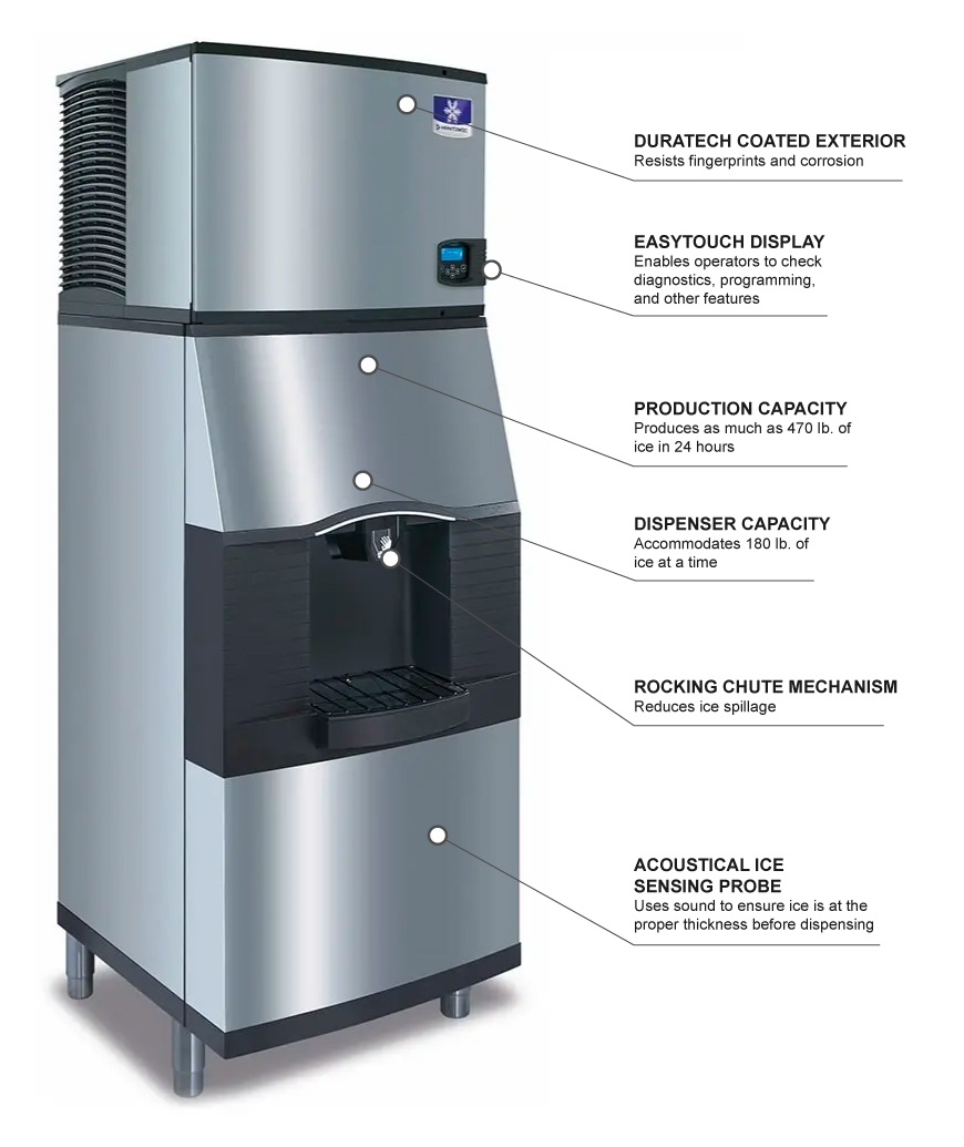 Manitowoc Ice IDT0450A/SFA291 470 lb Full Cube Ice Maker w/ Ice & Water on