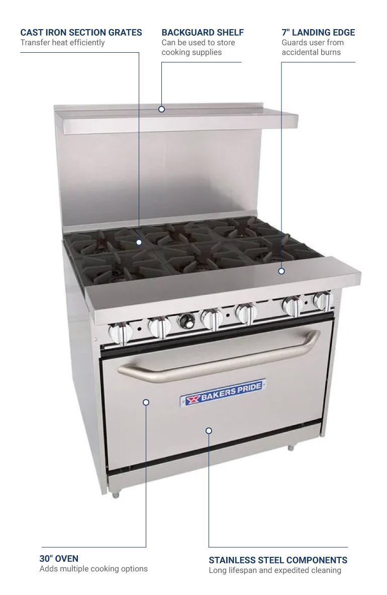 Each Bakers Pride 36-BP-6B-S30 NG 36-in Range w// 6-Burners /& Standard Oven NG Back Guard