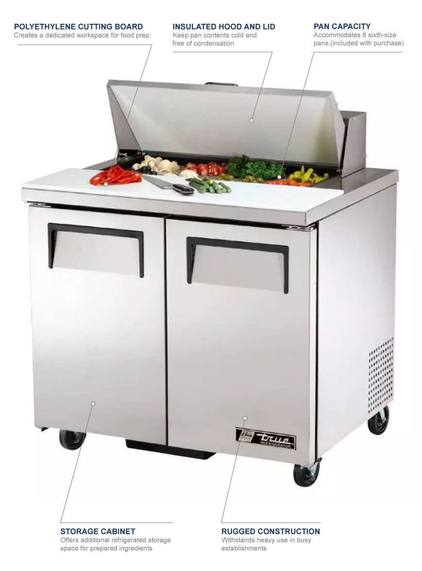 Tremendous True Tssu 36 08 36 Sandwich Salad Prep Table W Refrigerated Base 115V Download Free Architecture Designs Lukepmadebymaigaardcom