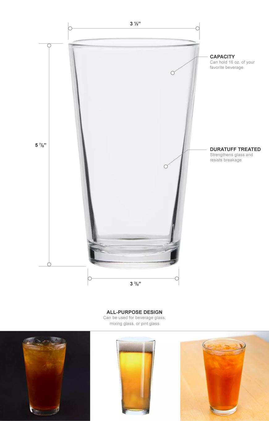 Libbey 1639HT 16 oz Pint Glass / Mixing Glass - DuraTuff Treated