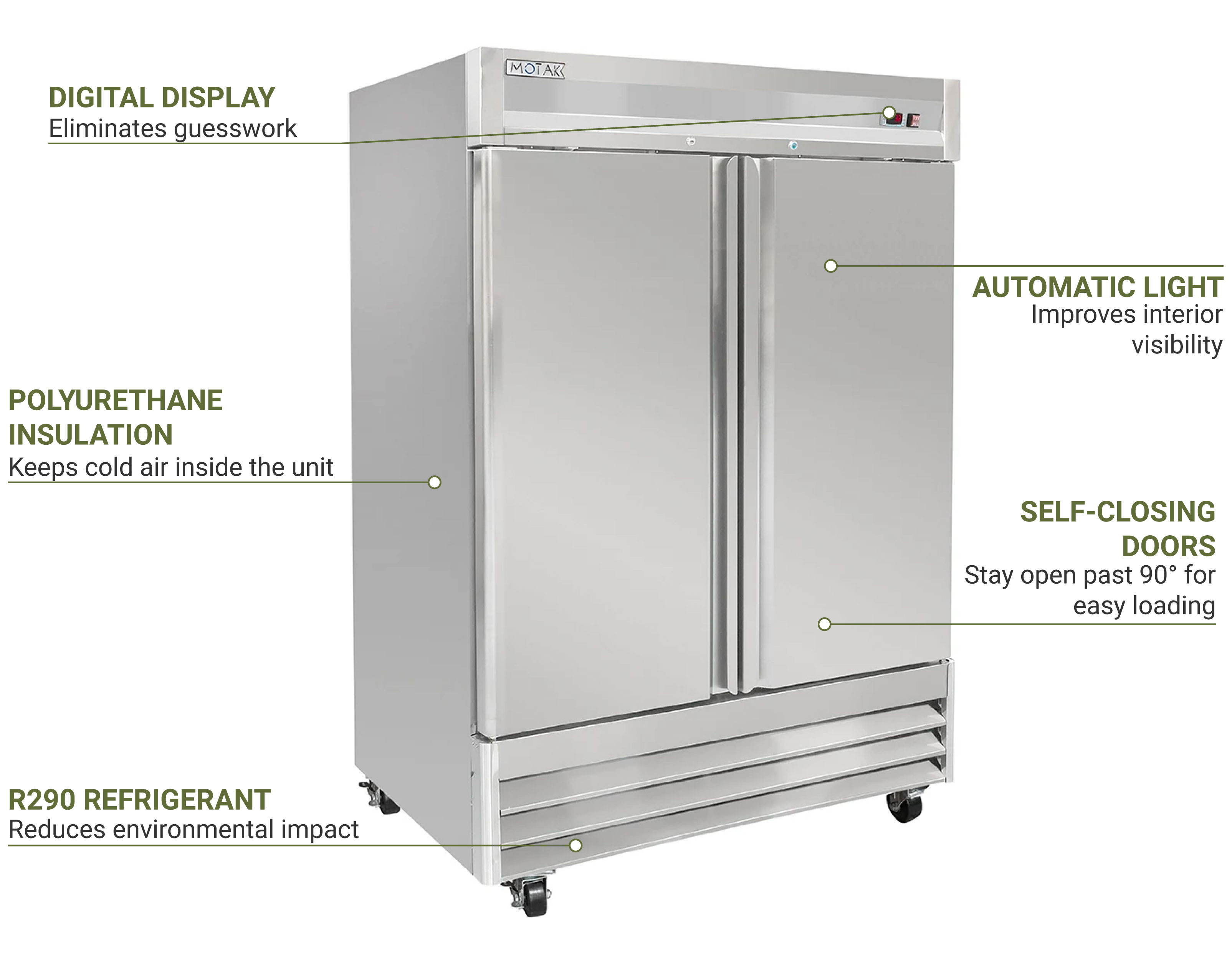 Centaur Plus Two-Section Reach-in Refrigerator Features