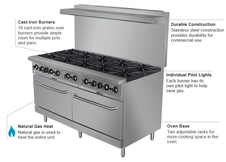 eQuipped 10-Burner Gas Range Features