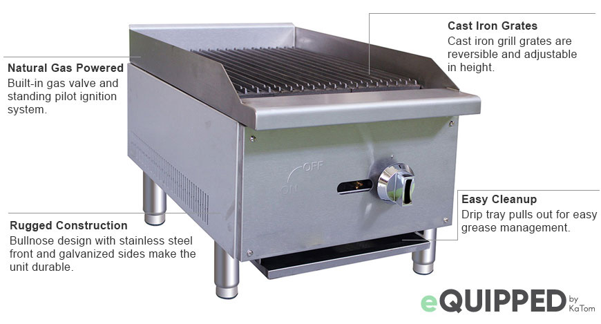 eQuipped 16-inch Charbroiler Features