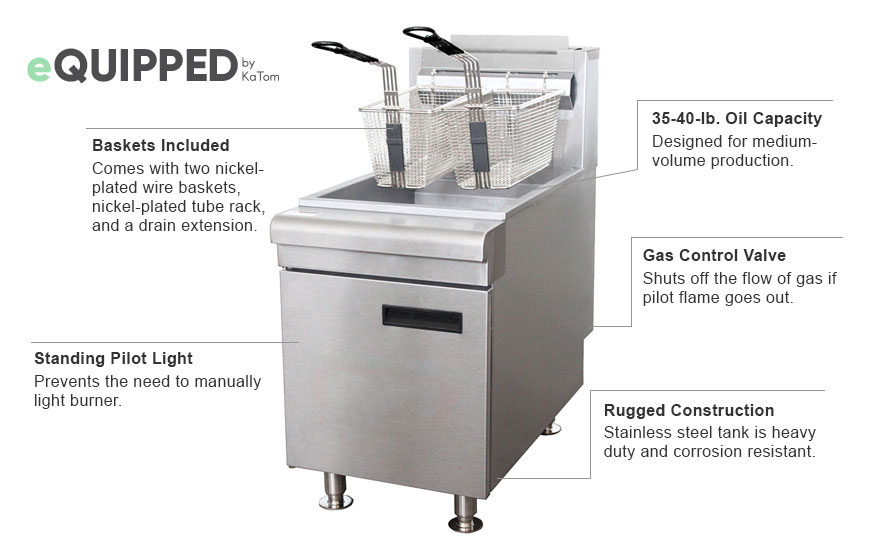 eQuipped 40-pound Gas Fryer Features
